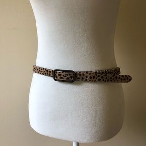 J Crew Leopard Print Calf Hair Belt Made in Italy